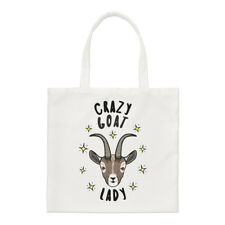 Crazy Goat Lady Stars Small Tote Bag - Funny Animal Shoulder