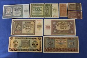 CROATIA LOT: 9 notes 1941-43 mainly great condition!  --> see many more auctions
