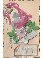 Relieve Decoración Campana Pascua Tarjeta Postal Antigua Pascua Paques