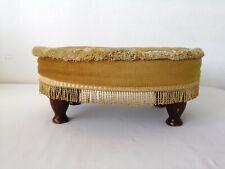 Vintage Sherborne Queen Anne Low Oval Footstool Mustard Dralon Velvet