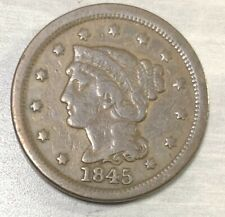 1845 Large Cent Us Coins, Braided Hair Circulated