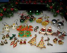Vintage Holiday Christmas Pierced Earrings Lot Avon Ajmc Santa Bells Ornaments +