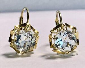 Ohrringe Gold 585 mit Aquamarin Edelsteinen / 2,2 Gramm / 14,3mm Länge Neuwertig
