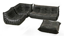 Vintage TOGO Sofa Set Black leather design by Michel Ducaroy for Ligne Roset 4