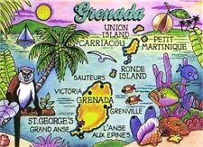 """GRENADA MAP CARIBBEAN FRIDGE COLLECTOR'S SOUVENIR MAGNET 2.5"""" X 3.5"""""""