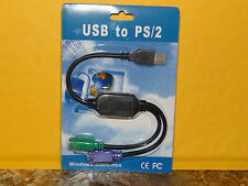 USB to Dual PS/2 Adapter for Mouse Keyboard Black