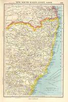 1952 MAP ~ AUSTRALIA ~ NEW SOUTH WALES COAST NORTH ~ CUMBERLAND SYDNEY PHILLIP