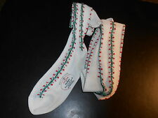 ADLER BY MORLEY-MADE IN GREAT BRITAIN-WHITE STOCKINGS RED/GREEN/BLACK LINES