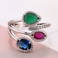 Special Gift Mulit 3 Color Emerald Rose London Blue Topaz Silver Adjustable Ring
