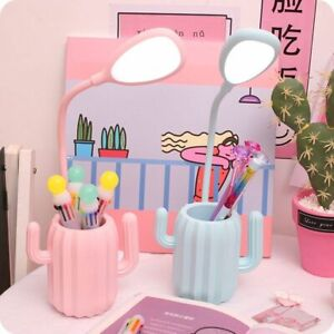 Led Cactus Desk Lamp Table Light With Pen Holder Creative Night Light Students
