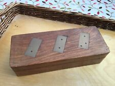 Vintage Deluxe Inlaid Brass and Wooden Dominos with Case