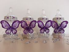 12 Purple Butterfly Bottles Baby Shower Favors Prizes Girl Decorations Recuerdos
