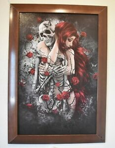 Women Hugging Skeleton 22x34 Print with Wood Brown Frame