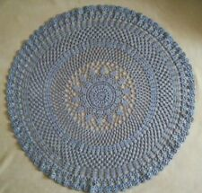 COTTON unique Round Cute Handmade Mat Kids Harmless Knitted Carpet Rug lace blue