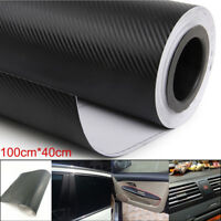 3D Car Interior Accessories Panel Black Carbon Fiber Vinyl Wrap DIY Sticker Easy