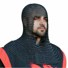 Medieval Armor Black Butted Chainmail Coif Armour Chain mail Hood Reenactment