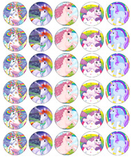 30 Unicorn Magical Cupcake Toppers Edible Wafer Paper Fairy Cake Toppers