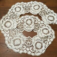 "Antique Vintage Cluny Lace Handmade Off White Ecru Lace Trim 8"" x 2 yards"