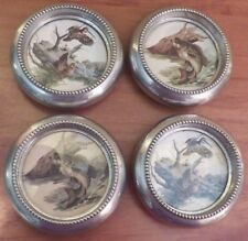 Vintage 1950's Fred Sweney Silver Metal Coaster Set Fins & Feathers EUC