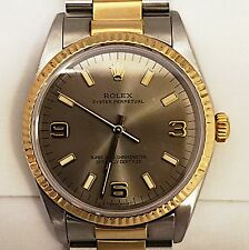 MENS ROLEX OYSTER PERPETUAL TWO TONE 18K YELLOW GOLD & STAINLESS WATCH