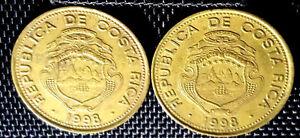 1998 Costa Rica 100 Colones coin 2pcs VF dia29.5mm (plus FREE 1 coin) #D3001