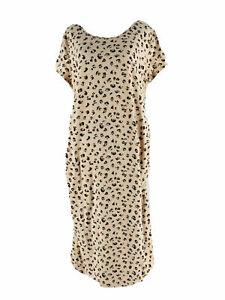 WOMEN'S LEOPARD PRINT T-SHIRT MATERNITY DRESS-ISABEL MATERNITY TAN-Size XS