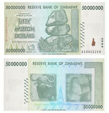 Zimbabwe 50 Million Dollars 2008 P-79 First Prefix 'AA' Banknotes UNC