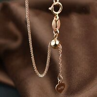 """New Pure 18K Rose Gold Lucky Wheat Chain Woman's Unique Adjustable Anklet 9.8""""L"""