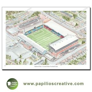 Print of Crystal Palace Football Club - Selhurst Park A4 by Dave Baldwin