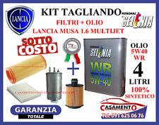 KIT TAGLIANDO LANCIA MUSA 1.6 MULTIJET FILTRI + OLIO SELENIA 5W40 SINTETICO