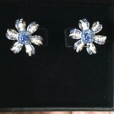 5Ct Cushion Blue Sapphire Simulant Diamond Floral Stud Earrings Gold Fnsh Silver