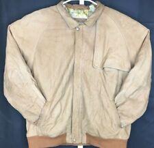 Marlboro Adventure Team Mens Large Vintage Brown Bomber Jacket Genuine Leather