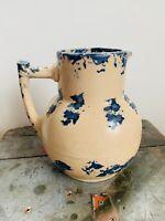 Antique Stoneware Folk Art / Americana Country Water Pitcher - Blue Spongeware