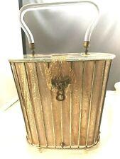 Gold Foil Thread Vintage 1950 Lucite Purse Handbag Clear Top, Base & Handle