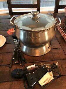 Cuisinart Electric Fondue Pot Maker Set Stainless Steel 3 Quart