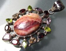 Sterling silver 25gr jasper & cut mixed gemstones heavy pendant.