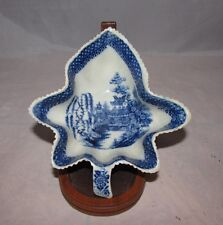 Antique English Blue Willow leaf shaped pickle dish Top Quality 18th