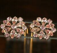 Vintage B. DAVID Pink Prong Set Rhinestone Flower Clip On Earrings Nearly 1 inch
