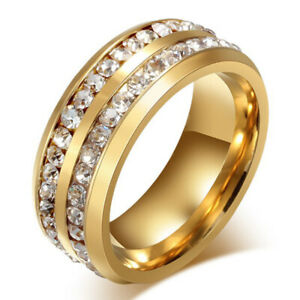 Big Deluxe Full Crystal Gold Band Ring Jewelry for Womens Mens Wide 8mm Size 6