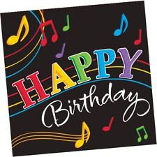Dancing Music Notes Happy Birthday Lunch Napkins 16ct