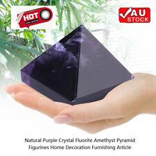 Pure Purple Natural Amethyst Ornament Pyramid Lucky 30mm/1.2'' Home Car Decor AU