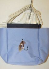 Fabric canvas nylon mini tote hand bag purse rope handle fish hook lure summer