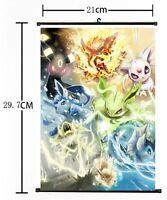Hot Japan Anime Pokemon Go Pocket Monster Poster Home Decor Wall Scroll FL819