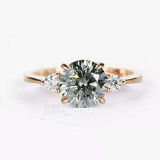 Solid 10k Rose Gold 1.57 Ct Gray Round Moissanite Engagement Anniversary Ring