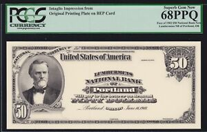BEP Intaglio 1902 $50 National Bank Note Obverse PCGS 68 PPQ Sup GEM CU