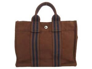 Auth HERMES Fourre Tout Small Handbag Brown 100% Cotton - e47001f