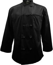 Natural Uniforms Knot Button Chef Coat with Thermometer Pocket Medium Black (M)