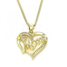 New 9ct Gold GF 'MOM Heart Pendant and Chain Necklace Cubic Zirconia JS22