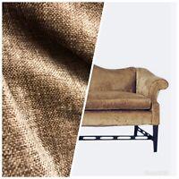 Designer Upholstery Chenille Velvet Fabric - Camel Brown- By The Yard
