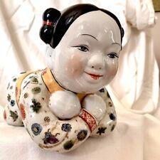 "Vintage Chinese GIRL Porcelain Opium Pillow 10"" Length"